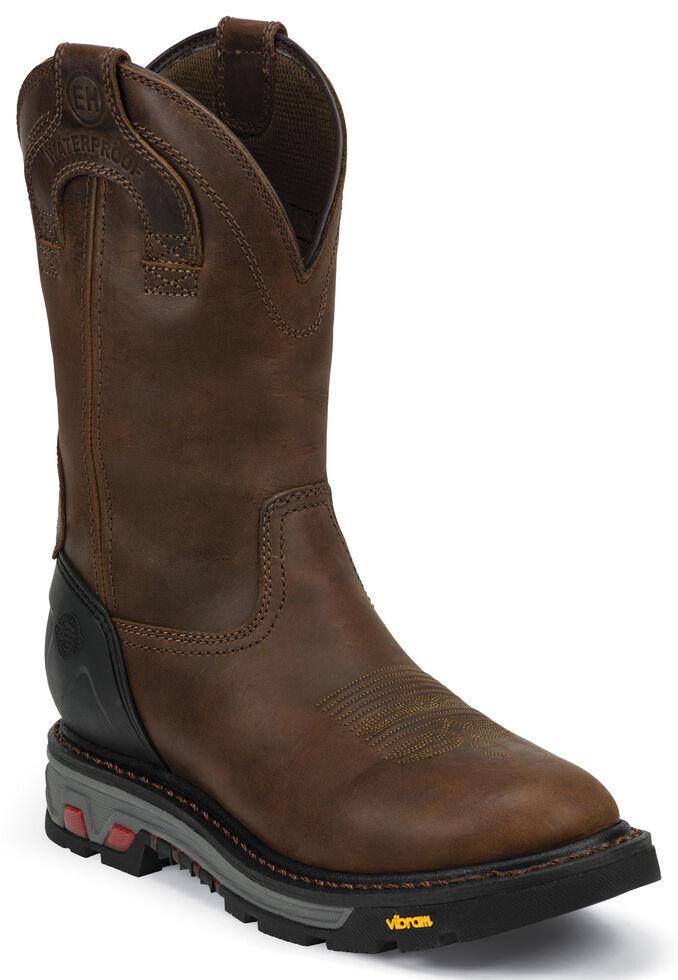 Justin Men's Mechanic Brown EH Waterproof Work Boots - Soft Toe, Brown, hi-res