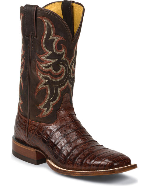 Justin Men's AQHA Remuda Caiman Cowboy Boots - Square Toe, Cognac, hi-res