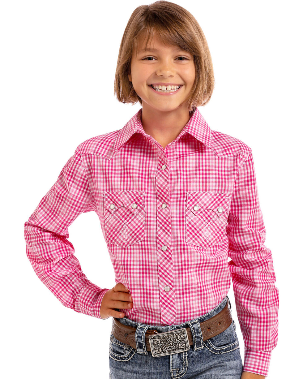 Panhandle Girls' Pink Checkered Plaid Lurex Long Sleeve Snap Shirt, Pink, hi-res