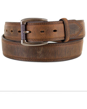 American Worker Men's Tan 1-1/2 Feather Edge Distressed Belt , Tan, hi-res