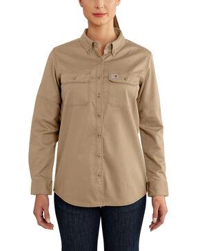 Carhartt Women's Rugged Flex Long Sleeve Shirt, Beige/khaki, hi-res