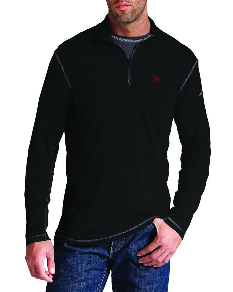 Ariat Men's Flame-Resistant Polartec 1/4-Zip Baselayer Pullover, Black, hi-res