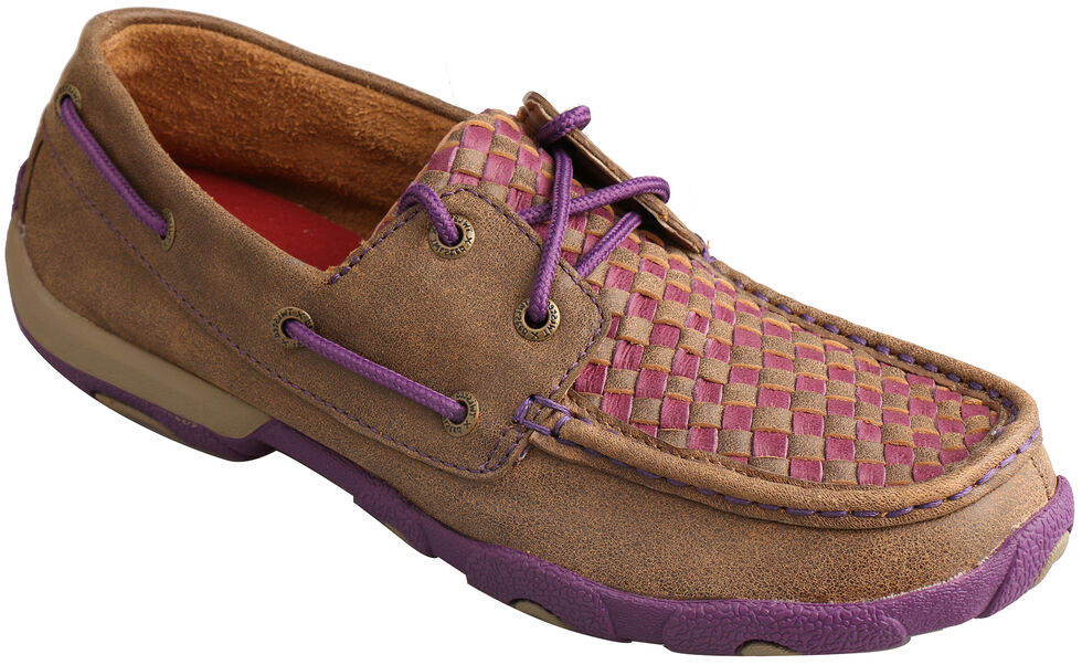 Twisted X Women's Bomber Brown & Purple Check Driving Mocs, Brown, hi-res