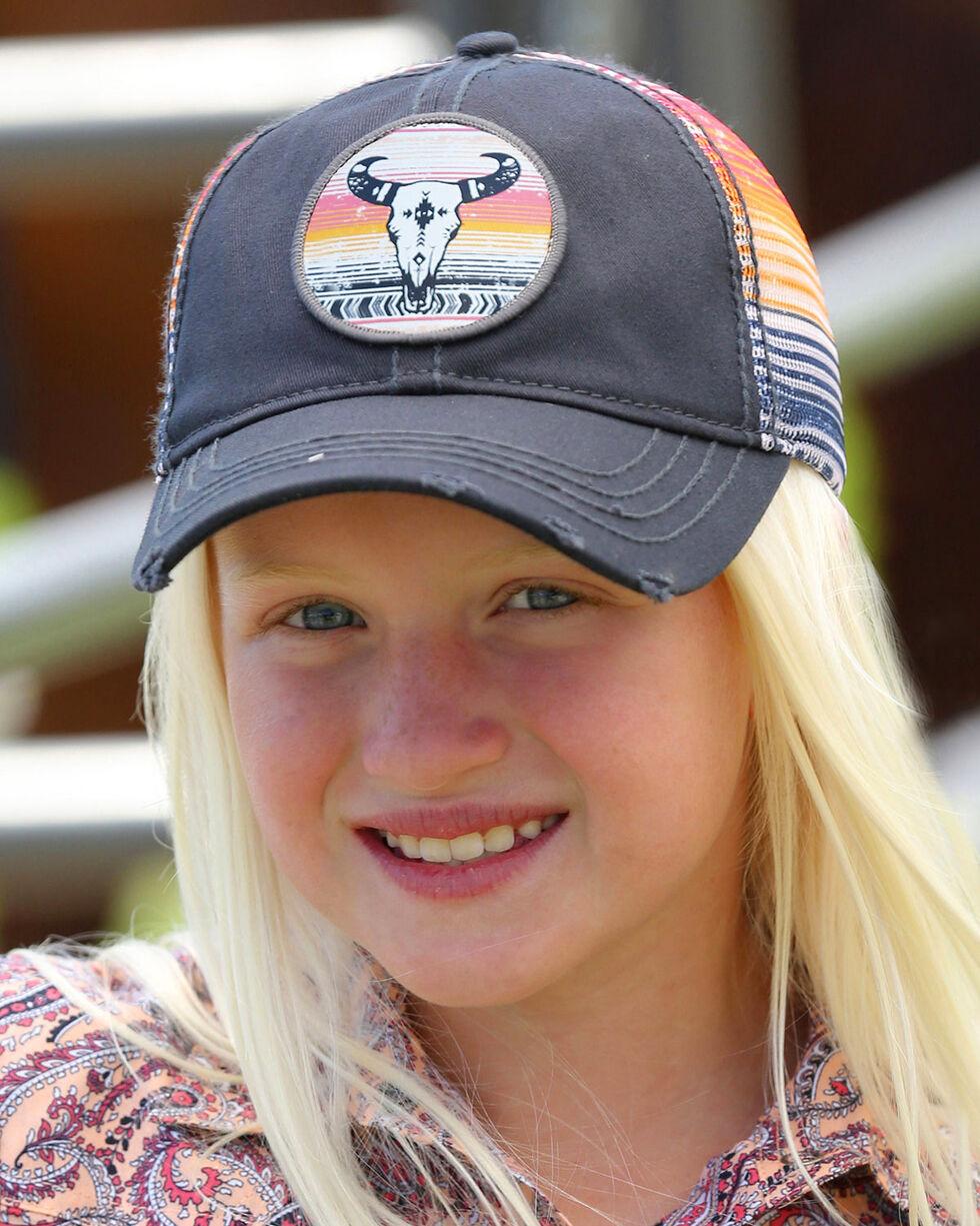 Cruel Girl Girls' Front Patch Printed Mesh Trucker Cap, Navy, hi-res