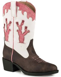 Roper Girls' Brown Desert Lights Cowgirl Boots - Round Toe, Brown, hi-res
