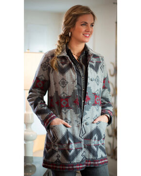 Ryan Michael Women's Grey Wool Blanket Jacket , Grey, hi-res