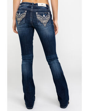 Miss Me Women's Scroll Flap Bootcut Jeans, Blue, hi-res