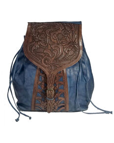 Kobler Leather Women's Tooled Backpack, Blue, hi-res