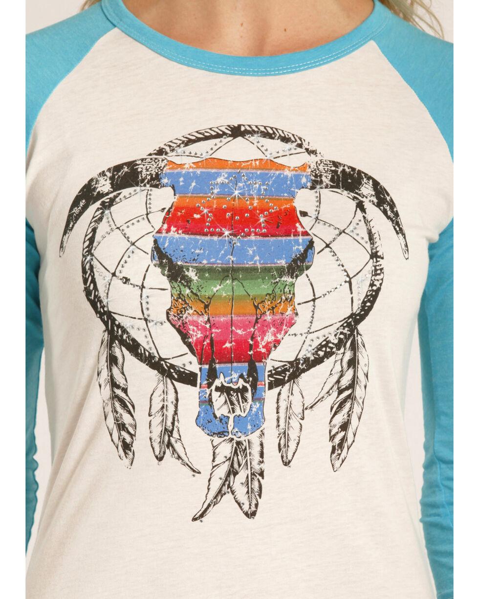 Rock & Roll Cowgirl Women's Serape Steer Skull Baseball Tee , Turquoise, hi-res