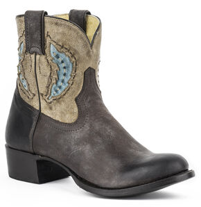 Stetson Betsy Cowgirl Booties - Round Toe, Brown, hi-res