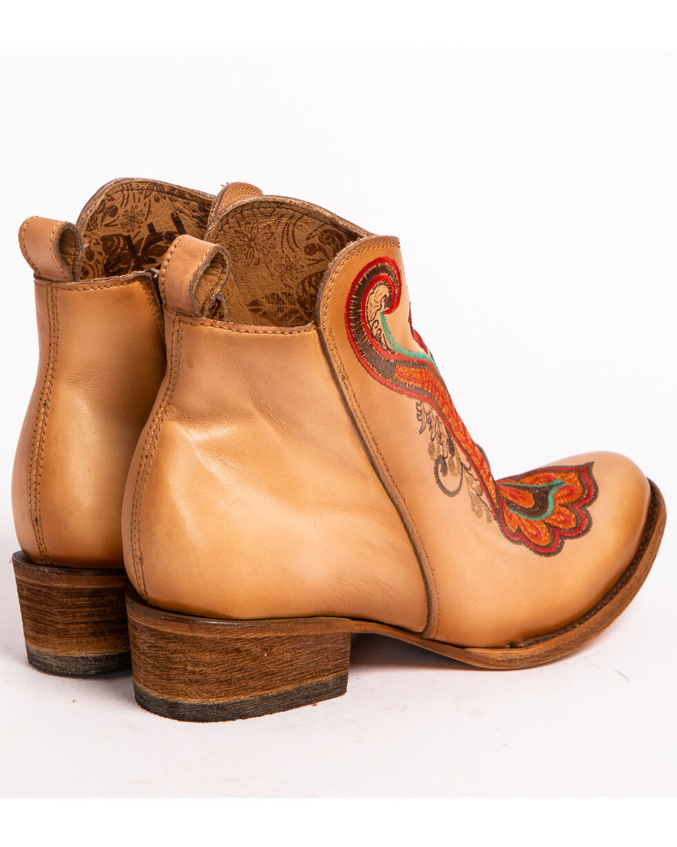 Corral Women's Natural Orange Embroidered Ankle Boots - Round Toe, Natural, hi-res