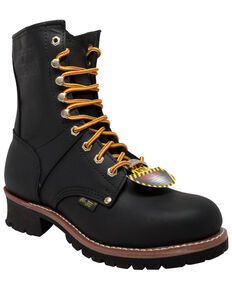 "Ad Tec Men's 9"" Waterproof Logger Work Boots - Steel Toe, Black, hi-res"