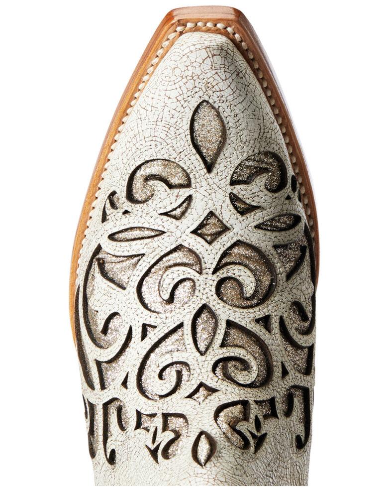 Ariat Women's Crackled White GLitter Dixon Fashion Booties - Snip Toe, White, hi-res