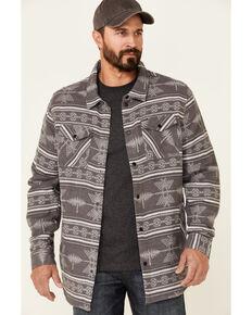 Rock & Roll Denim Men's Charcoal Aztec Jacquard Print Long Sleeve Button-Down Shirt Jacket , Charcoal, hi-res
