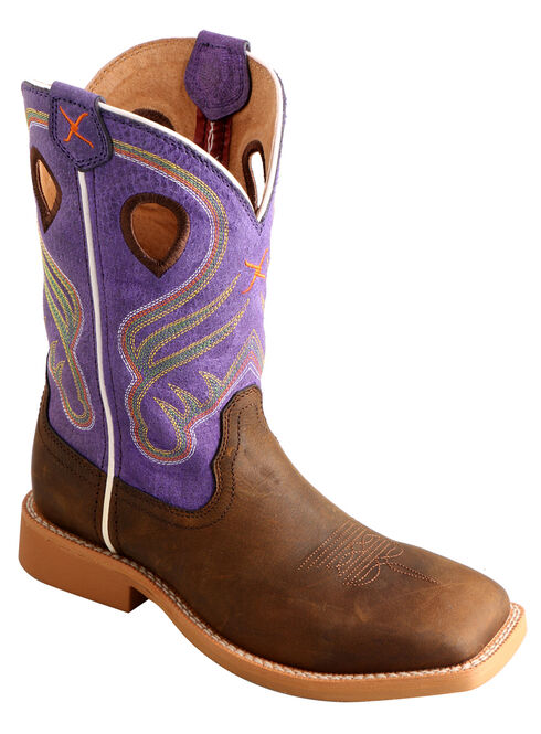 Twisted X Kid's Purple Ruff Stock Western Boots - Square Toe , Crazyhorse, hi-res