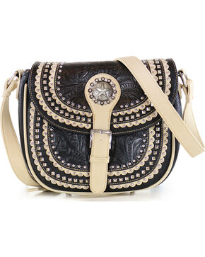 Shyanne Women's Black Western Star Studded Crossbody Satchel, Black, hi-res
