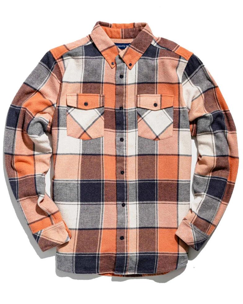 United By Blue Men's Brownstone Responsible Striped Long Sleeve Western Flannel Shirt , Orange, hi-res