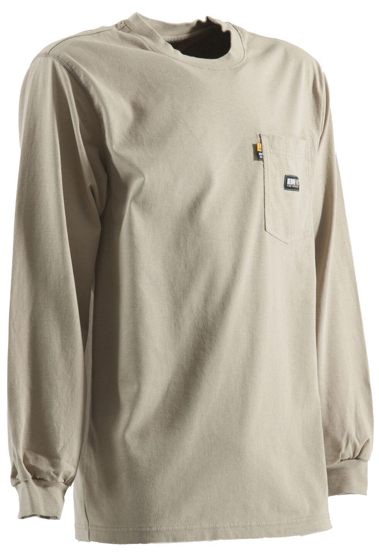 Berne Khaki Long Sleeve Flame Resistant Crew Neck T-Shirt - 2XT, Khaki, hi-res