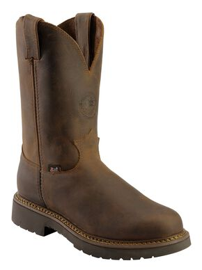Justin Men's J-Max Balusters Electrical Hazard Pull-On Work Boots - Soft Toe, Chocolate, hi-res