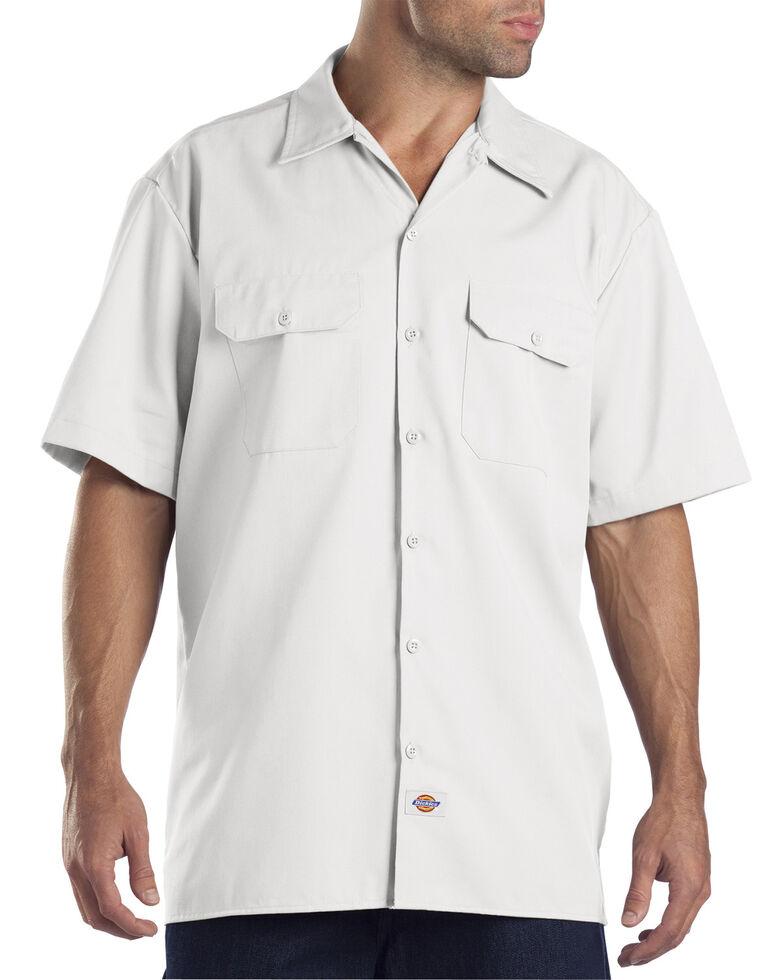 Dickies Men's Solid Short Sleeve Folded Work Shirt, White, hi-res