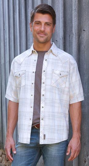 Wrangler Retro Men's Short Sleeve Plaid Snap Shirt, Natural, hi-res
