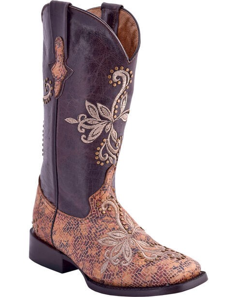 Ferrini Women's Embroidered Mosaic Western Boots - Square Toe, Chocolate, hi-res
