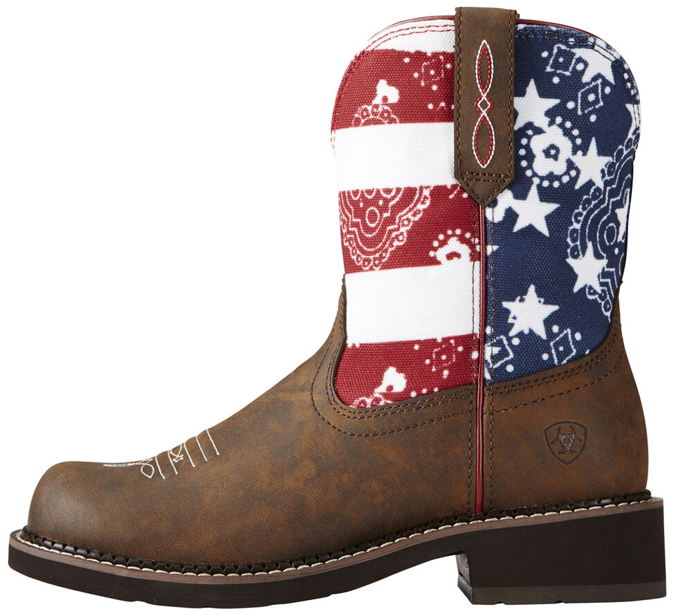 Ariat Women's Fatbaby Patriot Brown Heritage Cowgirl Boots - Round Toe, Brown, hi-res