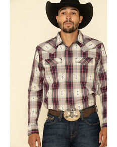 Cody James Men's Las Cruces Large Plaid Long Sleeve Western Shirt , Maroon, hi-res