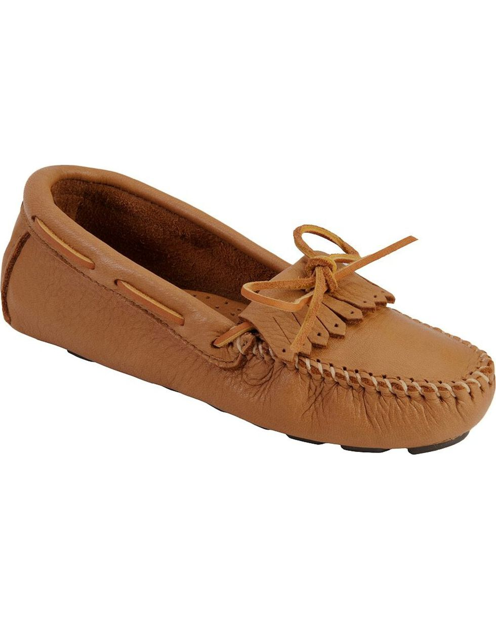 Women's Minnetonka Moosehide Driving Moccasins, Natural, hi-res