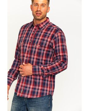 Wrangler Men's Salmon Retro Plaid Long Sleeve Shirt , Navy, hi-res