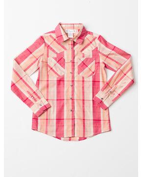 Shyanne Girls' Lurex Woven Plaid Long Sleeve Shirt , Coral, hi-res