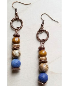 Jewelry Junkie Women's Frosted Blue Lapis and Wood Earrings, Blue, hi-res