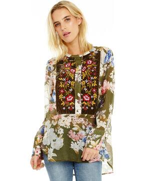 Aratta Women's Fluttering Floral Top, Olive, hi-res