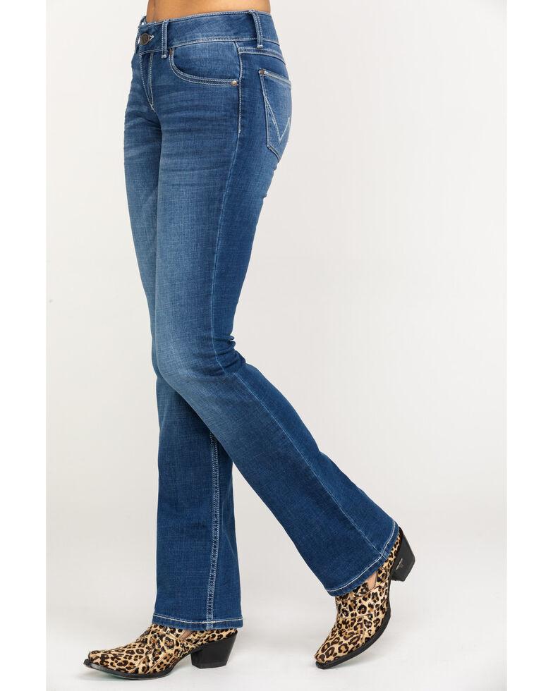 Wrangler Retro Women's Mae Mid Rise Boot Jeans , Dark Blue, hi-res
