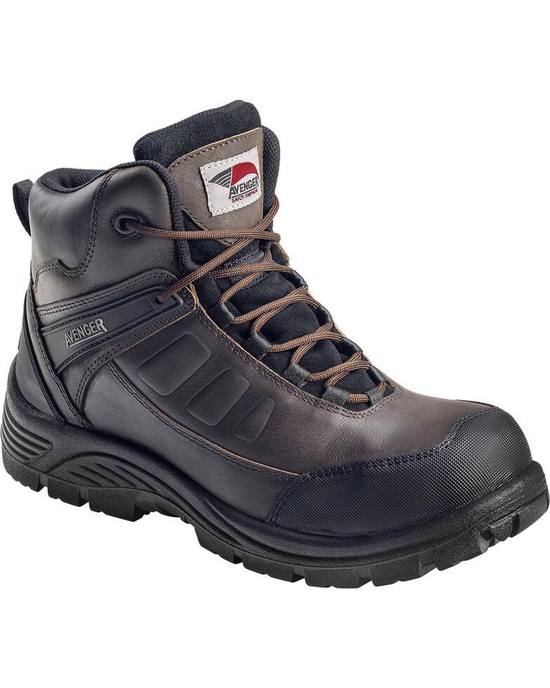 Avenger Men's Waterproof Lace-Up Work Boots - Composite Toe, Brown, hi-res