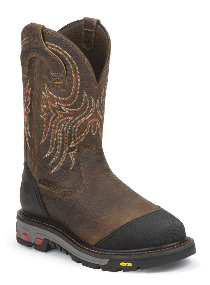 Justin Men's Borehole Mahogany EH Waterproof MetGuard Work Boots - Steel Toe, Mahogany, hi-res