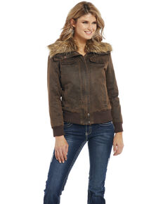 Cripple Creek Women's Enzyme Washed Cotton Faux Fur Concealed Carry Jacket, Brown, hi-res