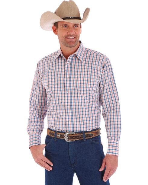 Wrangler Men's White Wrinkle Resistant Long Sleeve Plaid Shirt , White, hi-res