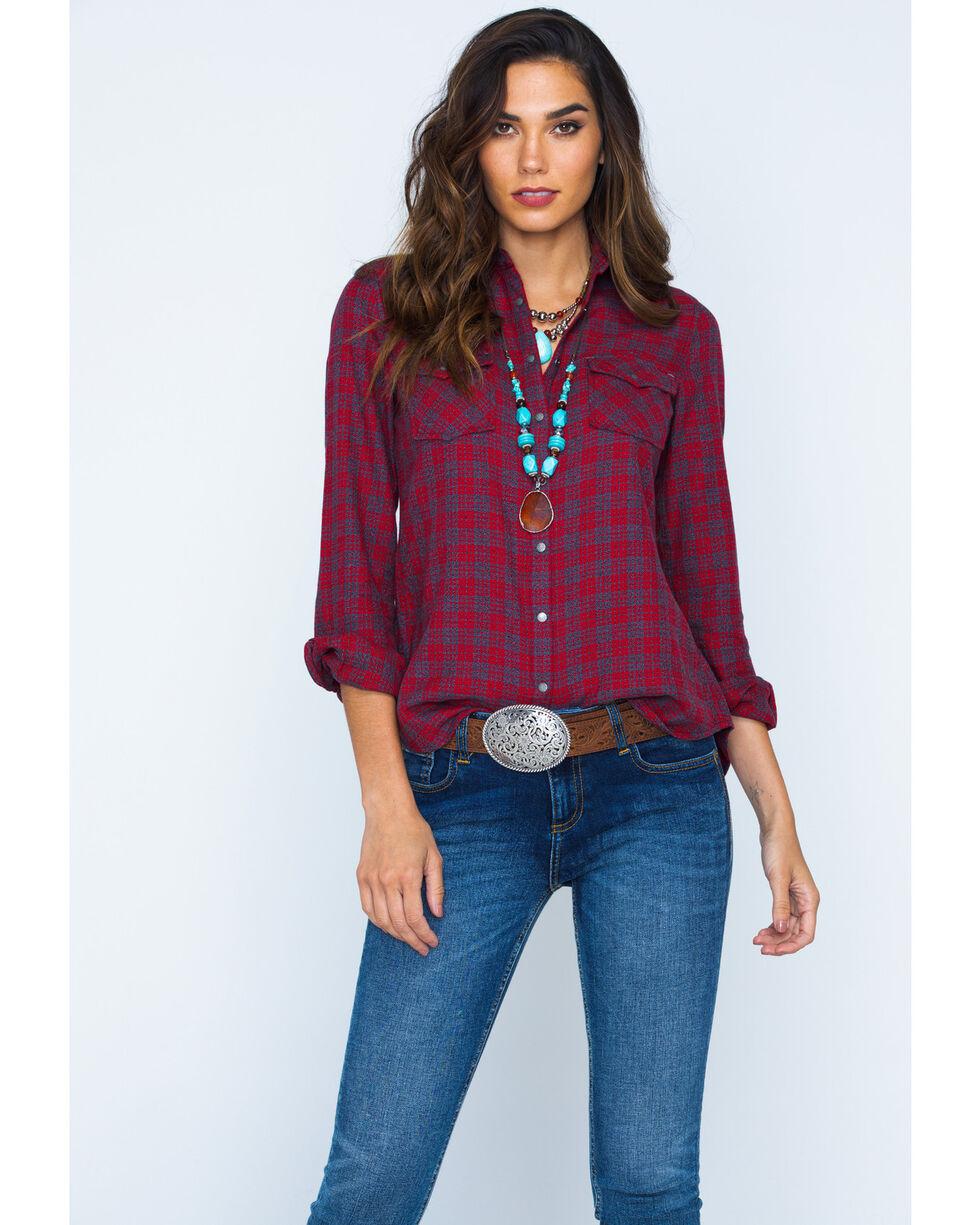 Ryan Michael Women's Red Mountain Jaspe Plaid Western Snap Shirt, Red, hi-res