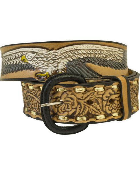 Western Express Men's Brown Eagle and USA Tooled Belt - Big, Brown, hi-res