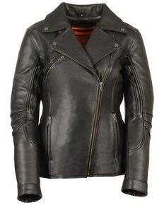 Milwaukee Leather Women's Long Length Vented Biker Leather Jacket - 4X, Black, hi-res