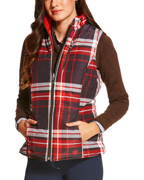 Ariat Women's Galway Plaid Reversible Vest, Multi, hi-res
