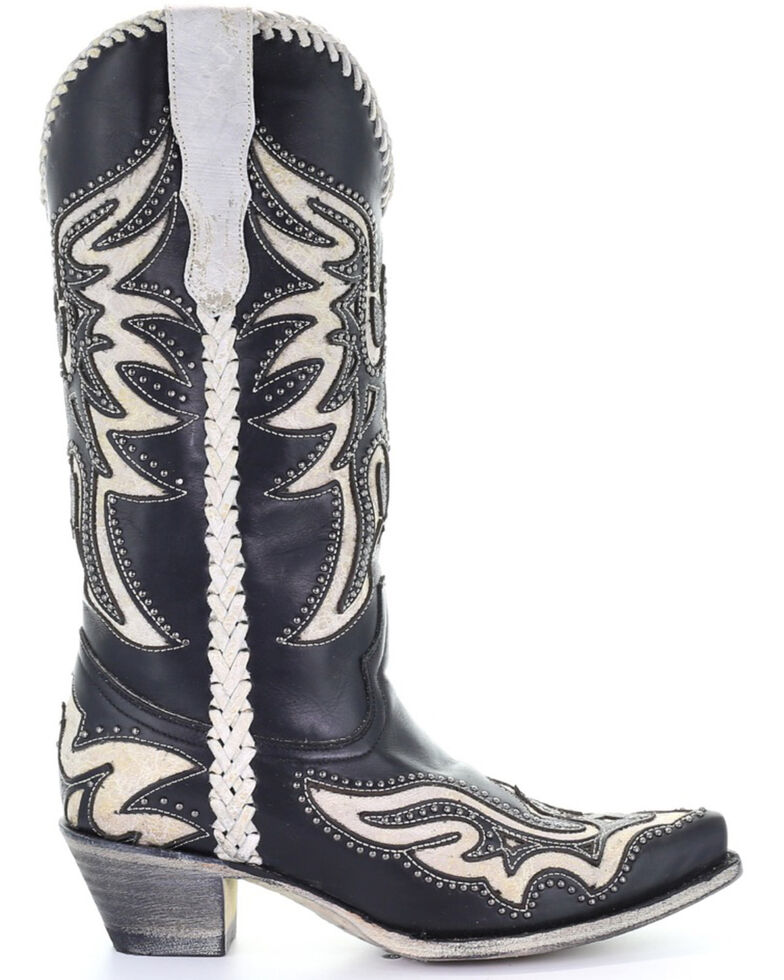 Corral Women's Black & White Inlay Western Boots - Snip Toe, Black, hi-res