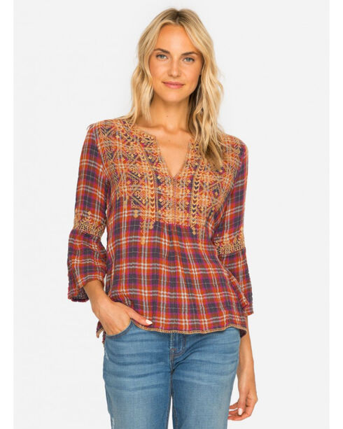 Johnny Was Women's Megan Flare Sleeve Boho Blouse , Red, hi-res