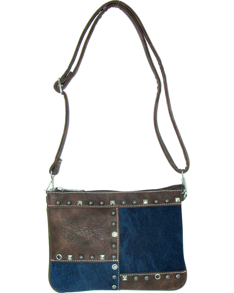 Savana Women's Fuax Leather Patchwork Crossbody Bag , Blue, hi-res