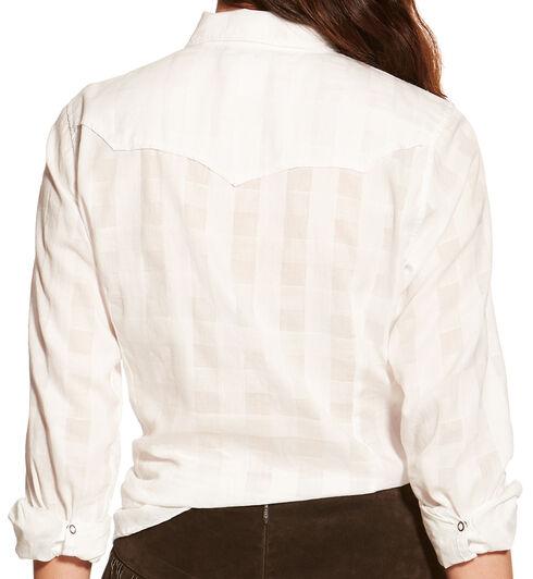 Ariat Women's White Lurex Buffalo Snap Shirt , White, hi-res