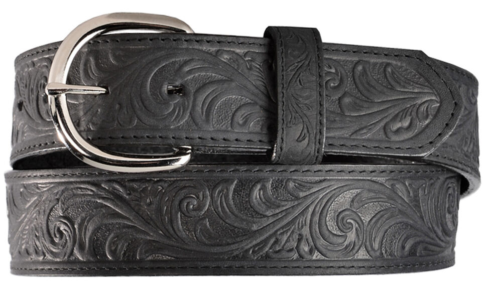 Silvercreek Black Hand Tooled Western Belt, Black, hi-res