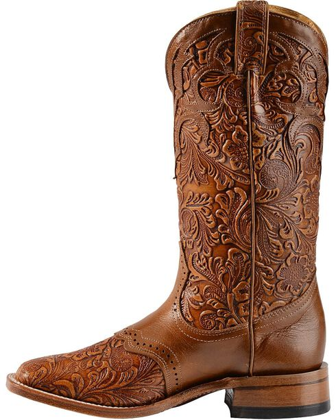 Boulet Hand Tooled Belmont Cowgirl Boots - Square Toe, Whiskey, hi-res