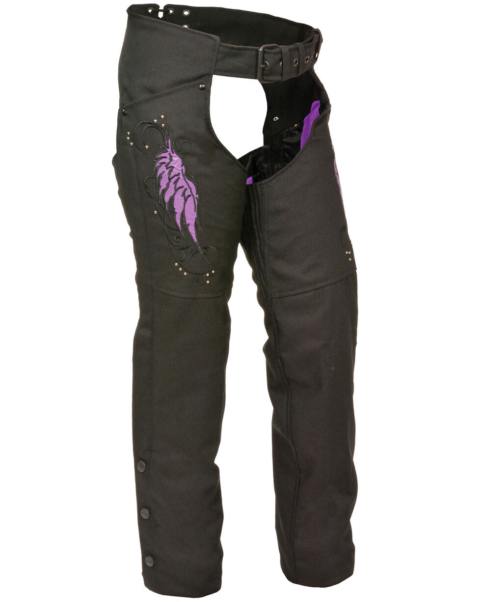 Milwaukee Leather Women's Textile Chap with Wing & Rivet Detailing, Black/purple, hi-res