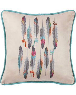 HiEnd Accents Embroidered Detail Feather Print Pillow, Cream, hi-res